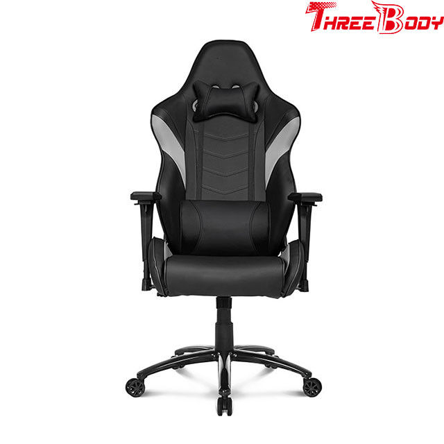 Black And Gray Leather Gaming Chair 360 Degree Swivel Rotation Fire - Retardant