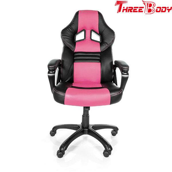 Commercial Racing Style Gaming Chair , Executive Swivel Pink Gaming Chair
