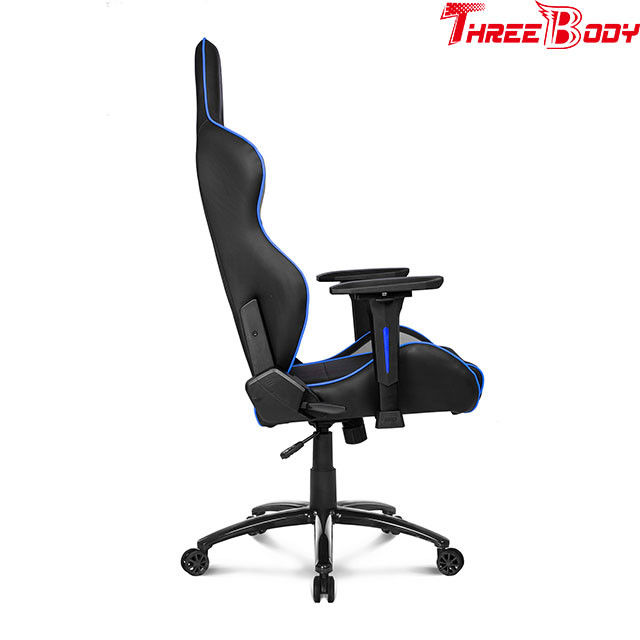 PU Leather X Racer Gaming Chair , Black And Blue Car Seat Computer Chair