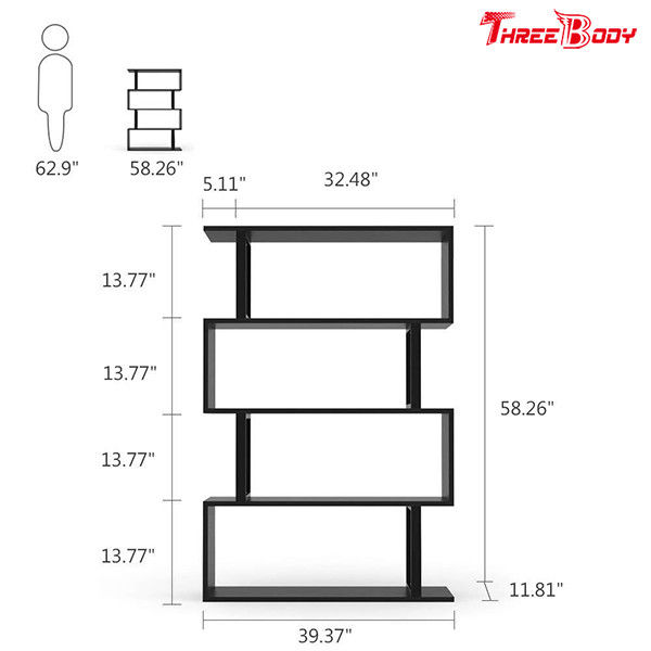 Black  Modern Office Furniture Corner 4 Shelf Bookshelf For Living Room / Bedroom